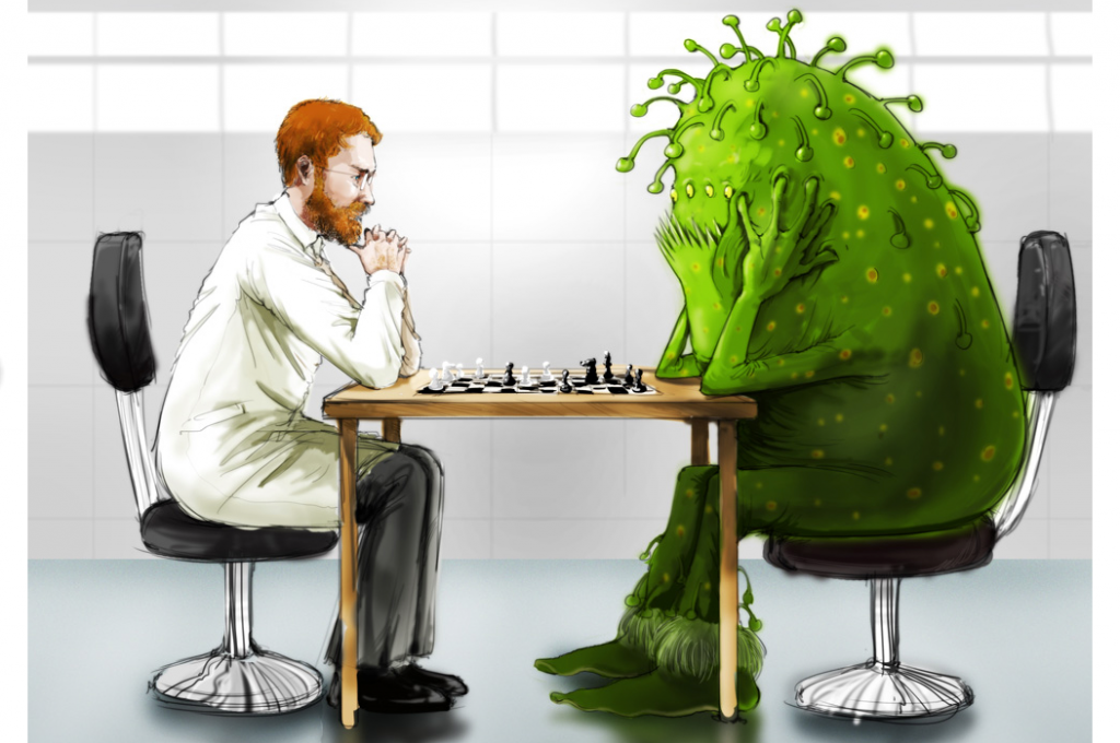 Gavilan scientist playing chess with green virus